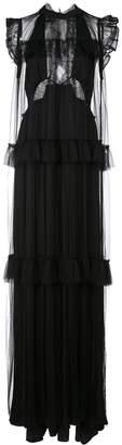 Vera Wang lace flared frill-trim dress
