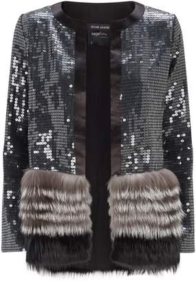 Izaak Azanei Sequin Fox Fur Cardigan