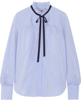 Sea Cotton-poplin Blouse - Light blue