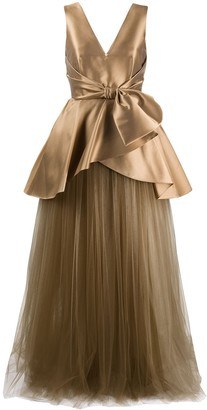 Alberta Ferretti Satin And Tulle Gown