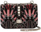 Valentino Lock Medium Love Blade Shoulder Bag, Black