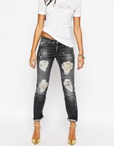Versace Boyfriend Jean With Baroque Print Rip And Repair