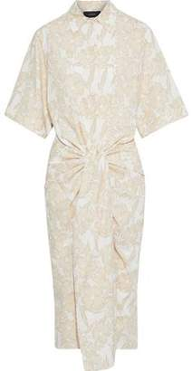 Joseph Cooper Tie-front Floral-print Cotton-poplin Shirt Dress