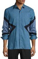 Neil Barrett Modernist-Stripe Chambray Shirt, Slate