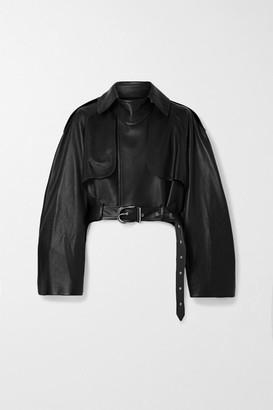 KHAITE Krista Oversized Belted Leather Jacket - Black