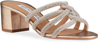 Aquazzura Moon Dust Crystal-Strap Slide Sandals