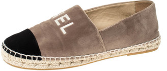 Chanel Tow Tone Velvet Logo Detail Cap Toe Espadrilles Size 37