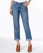 Style&Co. Style & Co Petite Embroidered Cropped Boyfriend Jeans, Created for Macy's