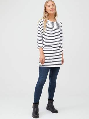 Joules Quinn Three Quarter Sleeve Jersey Tunic - Navy/Cream