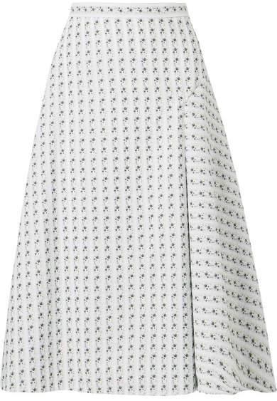 Erdem Mina Floral-jacquard Midi Skirt - White