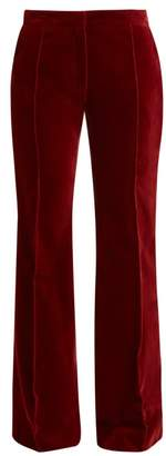 Pallas X Claire Thomson Jonville X Claire Thomson-jonville - Digital High-rise Flared Velvet Trousers - Womens - Dark Red