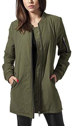 Urban Classic Women's Ladies Peached Long Bomber Jacket,12 (Size: M)