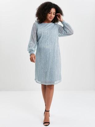 Evans Sparkle Shirred Cuff Dress - Blue