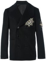 Alexander McQueen embroidered patch peacoat - men - Silk/Cotton/Viscose/glass - 46