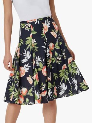 Hobbs Melina Floral Midi Skirt, Navy/Multi