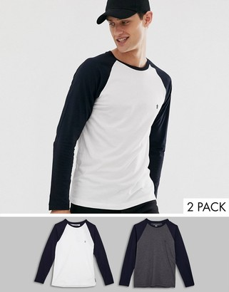 French Connection long sleeve raglan 2 pack top-White