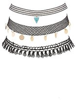 Charlotte Russe Plus Size Embellished Crochet & Mesh Choker Necklaces - 3 Pack