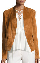 Derek Lam Suede Belted Wrap Jacket, Chestnut