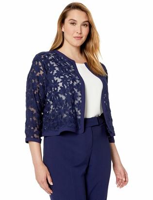 Anne Klein Women's Size Plus Floral LACE MESH Cardigan