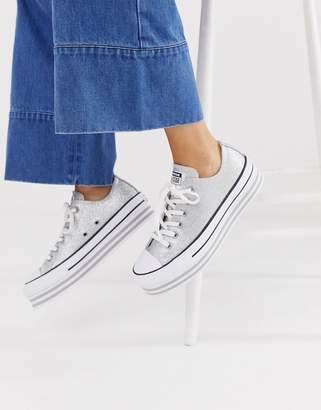 Converse chuck taylor all star lo silver glitter platform sneakers