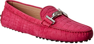 Tod's Gommini Embossed Suede Moccasin