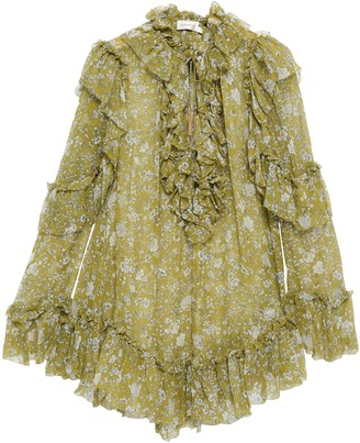 Zimmermann Rife Ruffle Pussy-bow Floral-print Silk-georgette Blouse