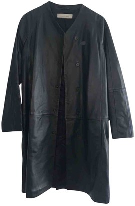 Gerard Darel Black Leather Trench Coat for Women