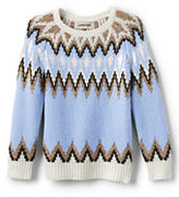 Classic Girls Fairisle Crewneck Sweater-Gray Heather Stripe