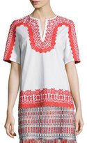 Tory Burch Isla Short-Sleeve Embroidered Tunic