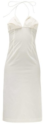 Jacquemus Bambino Halterneck Pleated Dress - White