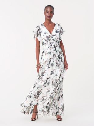 Diane von Furstenberg Carol Ruffled Chiffon-Blend Gown
