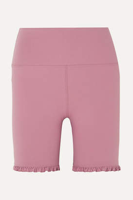 YEAR OF OURS Rita Ruffled Stretch Shorts - Baby pink