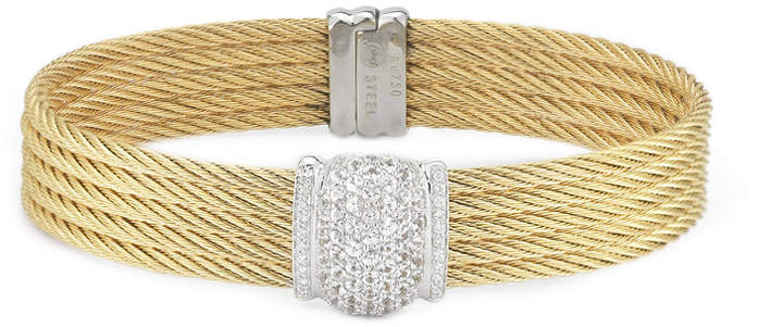 Alor Classique 18K & Stainless Steel 0.10 Ct. Tw. Diamond & Sapphire Cable Bracelet