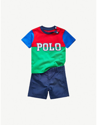 Ralph Lauren Polo logo-embroidered cotton T-shirt and shorts set 6-24 months