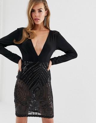 Club L London V neck bodycon dress with sequin skirt-Black