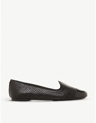 Dune Grandd reptile-embossed leather loafers