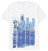 Calvin Klein Jeans Cityscape Blocks V-Neck Short-Sleeve Graphic Tee