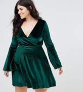 Club L Plus Velour Wrap Front Dress