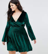 Club L Plus Velvet Wrap Dress With Fluted Sleeve