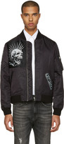 R 13 Black Patched Ma-1 Flight Jacket