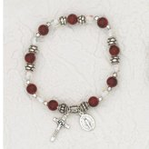 FindingKing January Crucifix Charm Stretch Bracelet Red