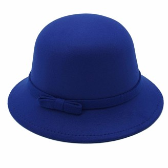 JEEDA Vintage Style Women Roll-up Brim Fedora Round Bowler Derby Hat YM1(Blue A3)