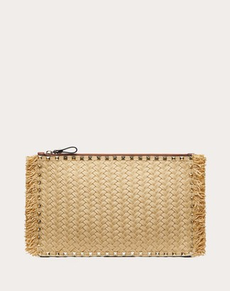 Valentino Large Rockstud Woven Raffia And Calfskin Pouch With Zipper Women Raspberry Pink Viscose 100% OneSize