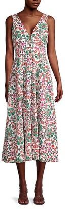 Saloni Mix Floral-Print Cotton Dress