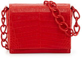 Nancy Gonzalez Small Crocodile Chain Crossbody Bag, Red Matte