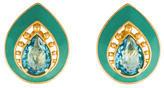 Saint Laurent Crystal & Enamel Teardrop Earrings