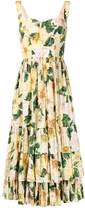 Dolce & Gabbana Tiered Floral-Print Dress