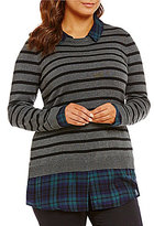 Intro Plus Stripe/Plaid Print Long Sleeve Sweater
