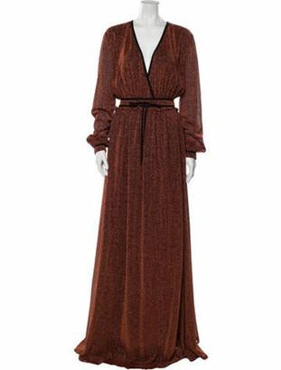 Just Cavalli Plunge Neckline Long Dress w/ Tags Metallic