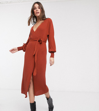 Asos DEISGN Tall knitted wrap dress with volume sleeve